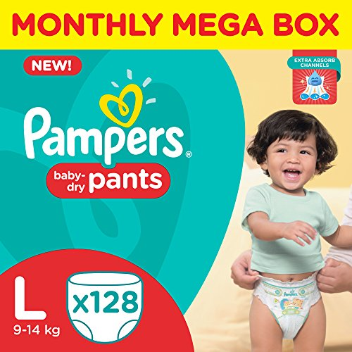 Pampers Large Size Diaper Pants (128 Count), Monthly Box Pack
