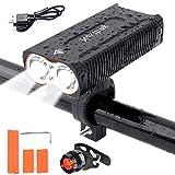 LED Fahrradlicht Set,QITAO USB Wiederaufladbare Fahrradbeleuchtung,2400 Lumen Sport Wasserdicht fahrrad scheinwerfer,4 Licht-Modi,Einfach zu installieren und zu entfernen,Rücklicht Set/stoßfest