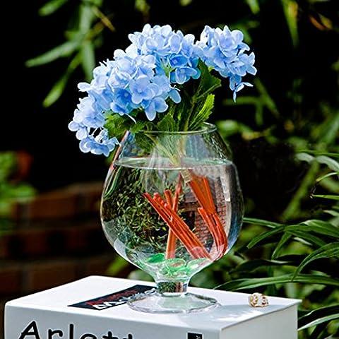 Jarrones Florero Botella de Vidrio Decoración Flor Planta Forma de Copa de Vino Transparente