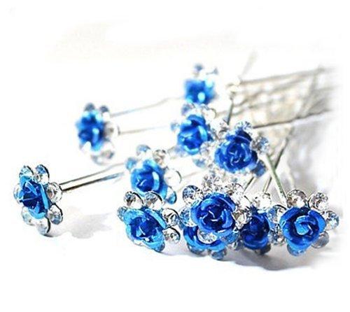 Accessoires cheveux coiffure mariage 1 lot de 10 épingles à chignon fleurs bleues à strass