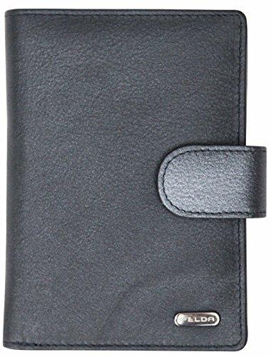 Felda - ampio portafoglio donna RFID - 23 fessure per carte e scomparto monete - blu navy metallico multi