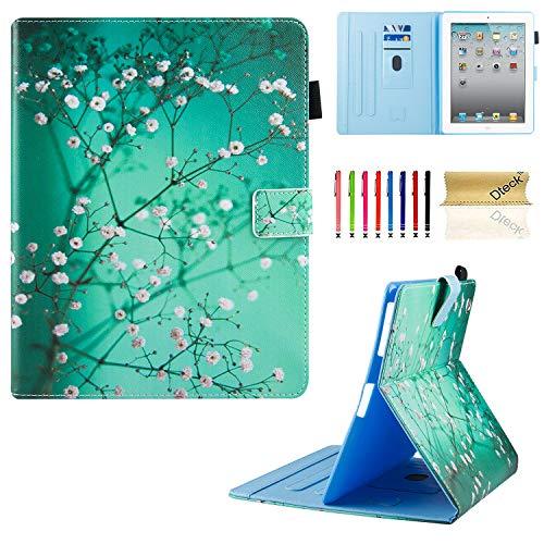 3/4Fall, dteck Mehreren Sichtwinkeln Folio Ständer Smart iPad Schutzhülle Hülle mit Auto Sleep/Wake Schutzhülle für iPad 4. Generation, iPad 3und iPad 2, 01 Pear Flower ()