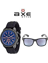 Axe Style XSW003 Watch-Sunglass Combo (BLUE) | High Quality | 100% UV Protected Sunglasses