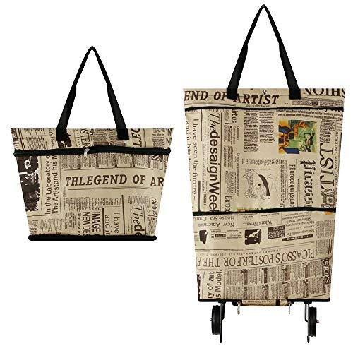 Bolsa de la compra plegable con ruedas, bolsa de carrito plegable con ruedas para mujer, carrito de la compra reutilizable, resistente al uso y plegable para un fácil almacenamiento #7747 Newspaper