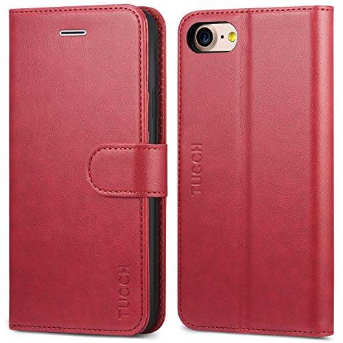 Tucch custodia iphone 8, custodia iphone 7, custodia iphone 8 portafoglio con interno tpu antiurto, [garanzia di vita], supporto stand, wallet case per apple iphone 8/7, con magnetico snap – rosso