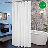 180CM x 200CM Polyester Shower Curtain White By Eurcross,Soft Waterproof Extra Long Fabric Shower Curtain Liner for Bathroom with 12pcs Curtain Hooks