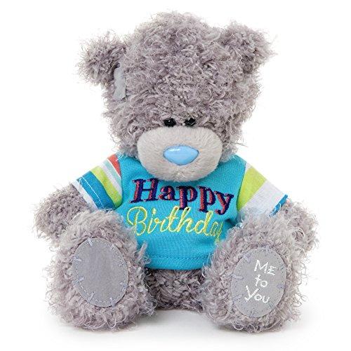 Me to You Tatty Teddy Bear Wearing a Happy Birthday T-Shirt (Grey)