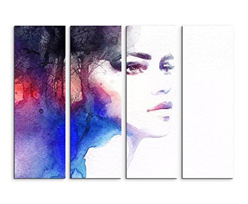 Fotoleinwand 4Teile je 90x30cm Bild – Schöne Frau aus Wasserfarben