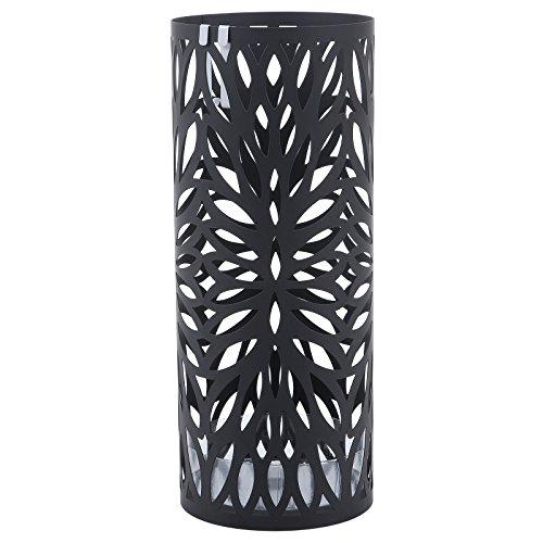 Songmics porta ombrelli portaombrelli Ø19,5 x 49 cm nero in ferro tondo con gancini e vaschetta scolapioggia luc20b