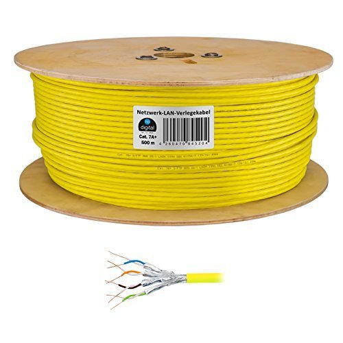 HB Digital Netzwerkkabel LAN Verlegekabel Cabel 500m cat 7A+ (Plus) 1200MHz Kupfer Profi S/FTP PIMF LSZH Halogenfrei gelb RoHS-Compliant cat. 7 Cat7a cat7aplus AWG 22/1 (500 Cat6-spule)