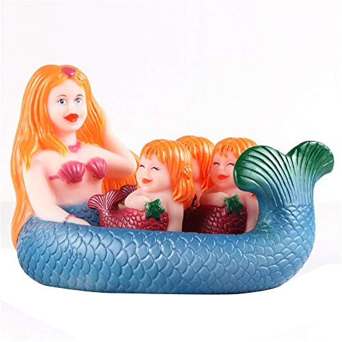 ForgetMe Toy Shrilling Rubber Cute Sea Mermaid Family Bathtub Pals Floating Bath Tub Toy Rubber Creatures Animals Water Toy Favors Baby Toy