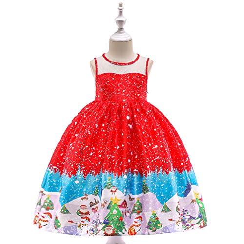 Girl Little Up Kostüm Dress - PRENSES NA Satin Little Girl Dress Up Kostüm, Kinder Blumendruck Prinzessin Party Cosplay Kostüm, Red2,120cm