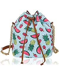 Kleio Stylish Bucket Sling Bag With Draw String For Girls / Women (Turquoise) (ECO2010KL-MELT)