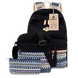 Schulrucksack Canvas Mädchen/Damen Schul Rucksack Set, Schulranzen + Schultertasche / Messenger Bag + Purse Große 3PCS
