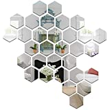 Wall1ders - 31 Hexagon & 10 Butterflies Silver (Size 10.5 x 12 cm) 3D Acrylic Stickers, 3D Acrylic Mirror Wall Stickers for Living Room, Hall, Bed Room & Home