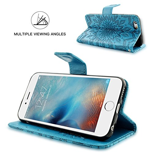 iPhone 6S Plus Hülle Fraelc® iPhone 6 Plus Flip-Case Premium Kunstleder Tasche im Bookstyle Klapphülle mit Weiche Silikon Handyhalter Lederhülle für iPhone 6 Plus / 6S Plus (5,5 Zoll) Indische Sonne D Blau