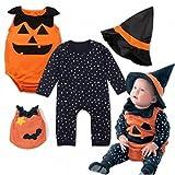Halloween Tenues Costume Ensemble Nouveau-né Infantile Bébé Garçon Filles, QinMM Star Étoiles Citrouille Citrouille Barboteuse (18M, Noir)