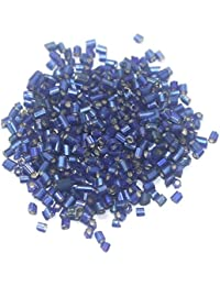 Beadsnfashion 2 Cut Seed Beads Silver Line Blue, Size 11/0, Pack Of 100 Grams