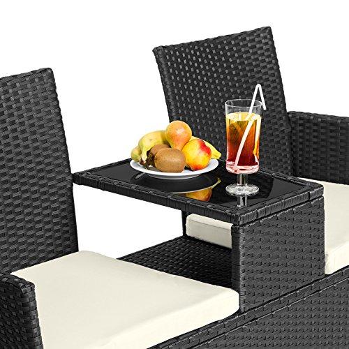 TecTake Sitzbank mit Tisch Poly Rattan Gartenbank Gartensofa inkl. Sitzkissen – diverse Farben – (Schwarz   Nr. 401547) - 4