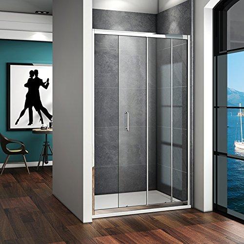 100 x 185 cm Nischentür Duschtür Schiebetür Duschabtrennung Duschwand aus 5mm ESG Sicherheitsglas Klarglas ohne Duschtasse - 3