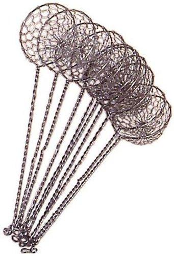 10er Pack Fondue-Sieb, Ø 6cm, L 22cm, silberfarben, Sieblöffel für Feuertopf, Mongolentopf