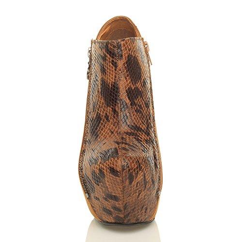 Damen Sehr Hohe Blockabsatz Reißverschluss Plateaustiefel Stiefeletten Größe Kamel Wildleder / Kamel Schlange