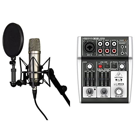 Rode NT-1A Großmembran-Kondensatormikrofon mit goldbedampfter und elastisch gelagerter 2,5 cm (1 Zoll) Nierenkapsel + Behringer XENYX 302USB 5-Input Mixer mit XENYX Mic Preamp und eingebautem USB Audio Interface