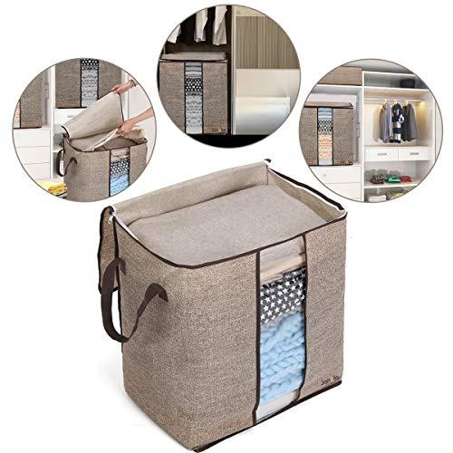 Janolia Kleidung Decke Quilts Aufbewahrungstasche, 67L Extra Space Aufbewahrungstasche, Eco-Friendly Bambus Vliesstoff,Braun (Quilt Tasche)