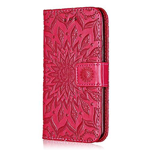 Cover per Samsung Galaxy A3 2015, Bear Village Custodia Galaxy A3 2015 in Pelle Portafoglio, Goffratura Flip Cover con Funzione di Appoggio e Slot Carte (#5 Rose Red)
