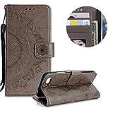 Grau Brieftasche für Huawei Honor 10,Gurt Leder Handyhülle für Huawei Honor 10,Moiky Ziemlich Jahrgang Mandala Blume Geprägt Klappbar Stoßdämpfende Stand Handytasche