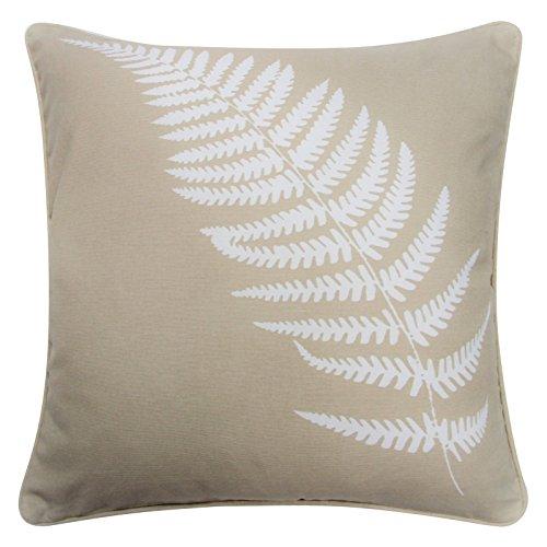 Kincraig - federa copricuscino, motivo moderno con felce, elegante, 100% cotone stampato,  43cm x 43cm, 100% cotone, natural, 43 x 43 cm