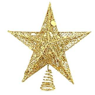 SpringPear-15-cm-Weihnachtsbaumspitze-Glitzernd-Stern-aus-Metall-Weihnachtsbaum-Glitzer-Topper-Party-Dekoration