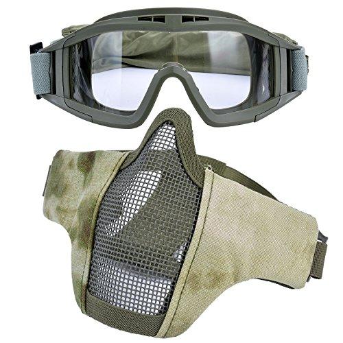 Kapmore Airsoft Maske, Mesh Gesicht Schädel Maske Airsoft Halbmaske Ausrüstung Stahl Airsoft Masken (Goggle + - Air-mesh-gewebe