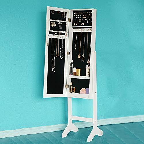 Mylhope armadietti portagioie armadio per gioielli con specchio, armadietto per l'immagazzinamento di gioielli per orecchini