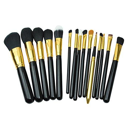 mondpalast-15pcs-15x-or-noir-pinceaux-de-maquillage-professionnel-pro-hq-manche-en-bois-ensemble-des