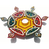 Handcrafted Decorative Diya Diwali Rangoli Set – Multicolor Jewel Stone/ Kundan Decorations On Red, Yellow And Green Acrylic Base With Tealight Candle Holder– 8 Piece Set - For Home Décor