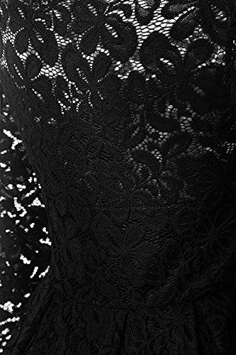 YaoDgFa Sexy Damen Kleider Spitze Abendkleid Cocktailkleid Partykleid Rockabilly Kleid Knielang Festlich Langarm Off Schulter Retro 1950er Schwarz