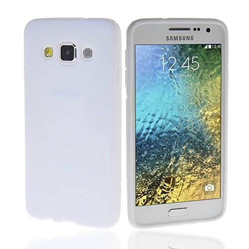 NAUC Schutzhülle für Samsung Galaxy E5 Tasche TPU Case Cover Schutz Hülle Handy Kappe, Farben:Weiss