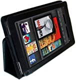 iZKA® - Amazon Kindle FIRE (NOT HD) Leather Case Cover and Flip Stand Wallet + Bonus Screen Protector + Capacitive Stylus Touch Screen Pen - Black