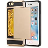 Funda para Apple iPhone 5c Antigolpes Cartera, Moonmini® Carcasa Fuerte Antideslizante Golpes Resistente Wallet Case con Tarjetero - Gold