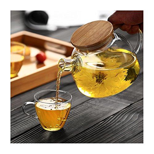 cosy-ycy Borosilikatglas Teekanne Kaffeekanne mit einem natürlichen Bambus Deckel und einem...