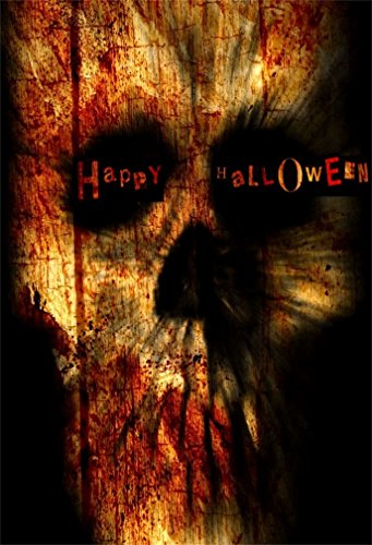 Scary Kostüm Bilder - YongFoto 1x1,5m Polyester Foto Hintergrund Fröhliches Halloween Gothic Spooky Scary Schädel Blut Kostüm Fotografie Hintergrund für Fotoshooting Portraitfotos Party Kinder Fotostudio Requisiten