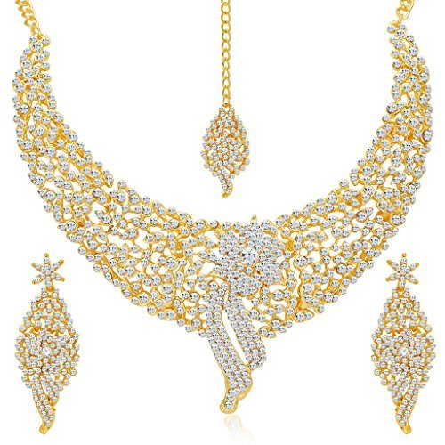 Sukkhi Wedding Jewellery Choker Necklace for Women (Golden)(2103NADM2150-AMZ)