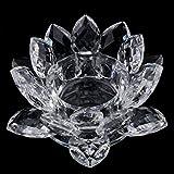 D DOLITY Kristallglas Deko Lotus Teelichthalter Kerzenhalter Kerzenständer Kerzenleuchter - Weiß