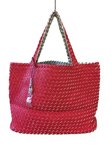 Fashion, Borsa tote donna rosa / argento