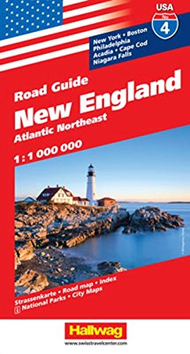 Hallwag USA Road Guide 04 New England 1 : 1.000.000: Atlantic Northeast (Hallwag Strassenkarten, Band 4) - England New Map Road