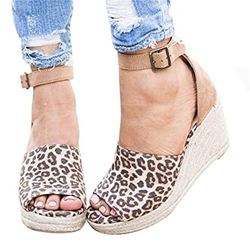 Shelers Damen Keile Schuhe Espadrilles Absätze Knöchel Gurt Fallen Sommer Sandalen (37 EU, Z-Leopard) (Schuhe Für Ein Kleid)