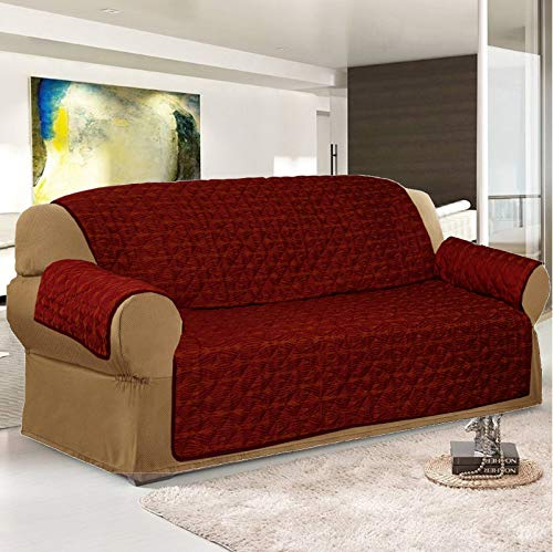 Jacquard Sofa Slip Covers / Sofabezug, erhältlich in 3 Größen und 6 Farben, rot/goldfarben, 2 Seater (Love Seat) (Sofa Love Seat Cover Rot)