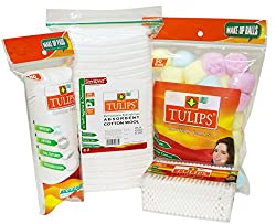 Tulips Combo Pack of Cotton Balls,Buds, Pads and Cotton Pleats (Pack of 4)