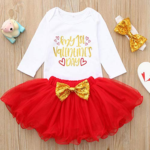 OVINEE 3 STÜCKE Neugeborenen Strampler Infant Girls Print Overall Kleidung Outfit Anzug Tops + Rock Valentinstag Outfits Set